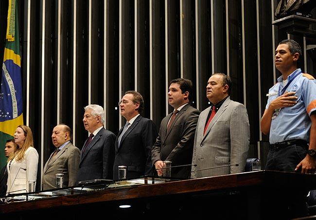 Renan promulga PEC dos Agentes de Trânsito. Foto: Jane de Araújo