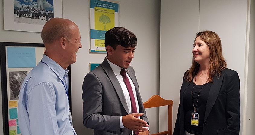 """Maria Cristina Monteiro, diretora da SRPPM, e Cefas Siqueira, coordenador-geral da SRPPM receberam o vereador de Parelhas (RN), Netinho """"Senador""""."""