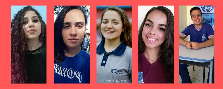 Os jovens senadores Yasmin Stefany Jesus (MS), Camila Antunes Simoni (MT), Giovanna Moura Sotelo (AM), Monaísa Laís de Sá Souza (PE) e Elber Souza Almeida (BA) falam sobre suas influências