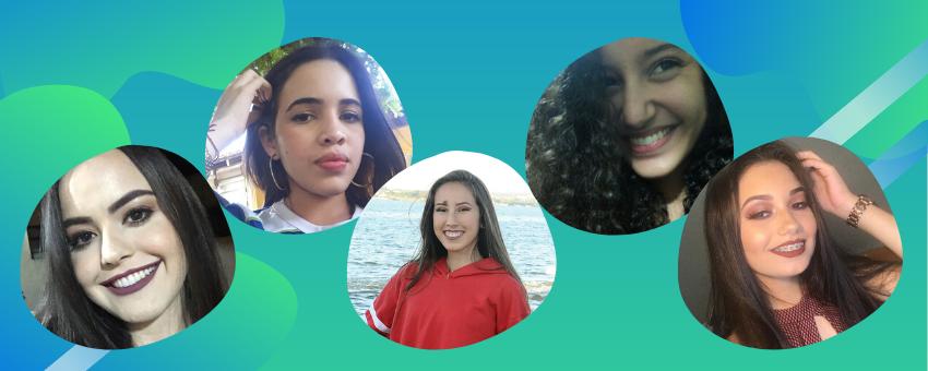 As jovens senadoras Camila Folieni (SP), Caroline Silva Ribeiro (AP), Suzanny Dias Kuhlmann (DF), Elda Chaves de Macedo (TO) e Jamily Kelly A. Souza Silva (GO).