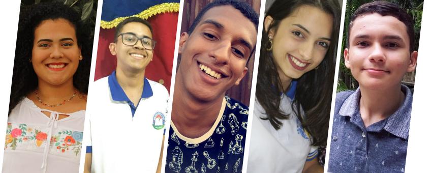 Os jovens senadores Sanna Abigail de Jesus Mello (ES), Pedro Henrique de Araujo Silva (AL), Matheus Barbosa Alves (RR), Thalita Pacher (SC) e Breno Sanches Viana (PA).