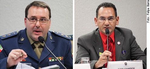 [Foto: (E/D) tenente-coronel Gladimir Murer e presidente do Sindicado dos Bombeiros Civis do Distrito Federal, Francisco José Antônio da Silva]