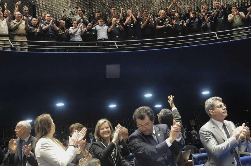 A aprovação do estatuto no Plenário do Senado, em julho, teve grande presença de guardas municipais