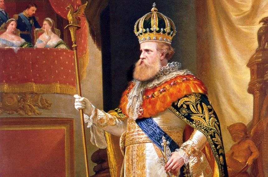 """Detalhe da pintura de Pedro Américo, conhecida como """"Fala do Trono"""", que retrata o imperador D. Pedro II na abertura da Assembleia Geral de 3 de maio de 1872."""