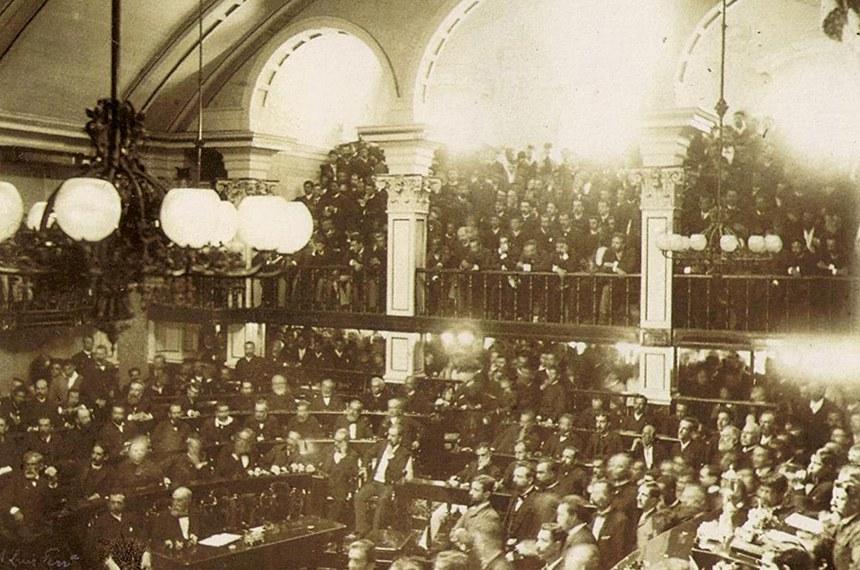 Plenário do Senado, no dia da edição da Lei Áurea: os debates parlamentares sobre a abolição da escravatura eram acompanhados com grande interesse pela população