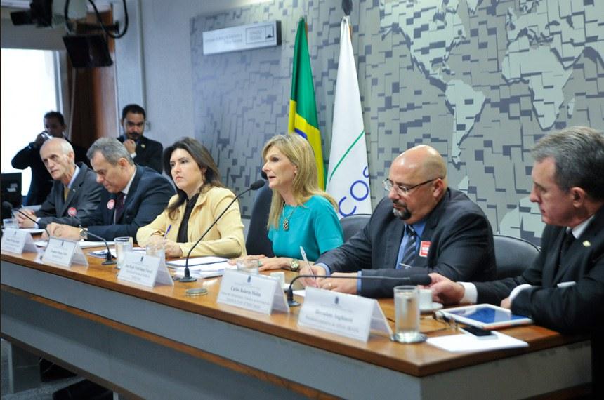 A partir da esquerda, Alves Filho, Procópio Júnior, a senadora Simone Tebet (que presidiu a audiência), Ana Paula Vescovi, Molim e Herculano Anghinetti, da Associação Brasileira Pró-Desenvolvimento Regional Sustentável
