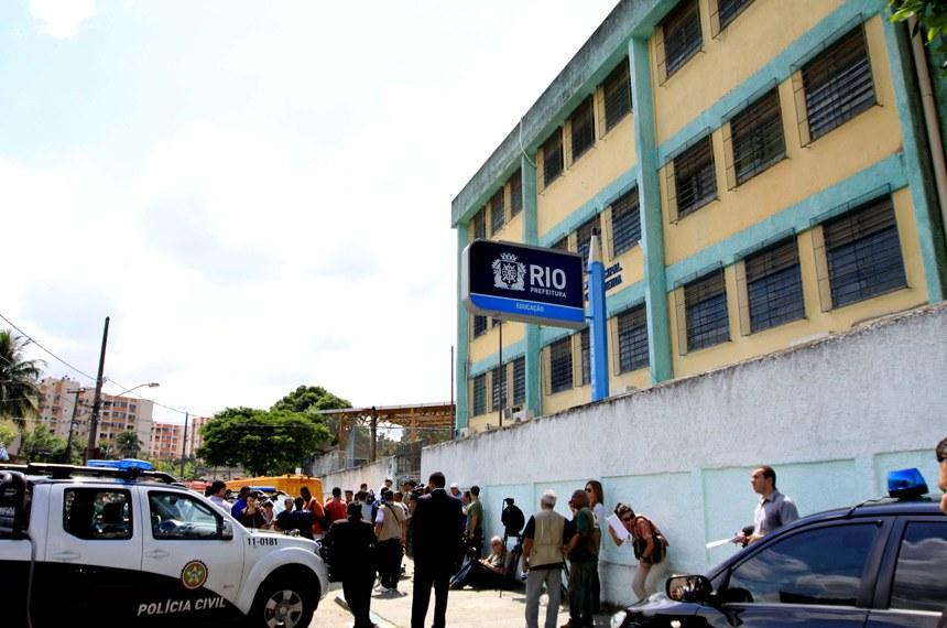 Escola no bairro de Realengo, no Rio de Janeiro, onde, há cinco anos, 12 crianças foram assassinadas