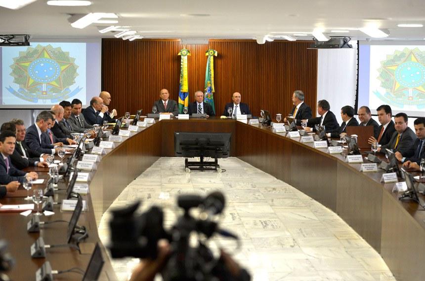 Michel Temer na primeira reunião ministerial de sua gestão