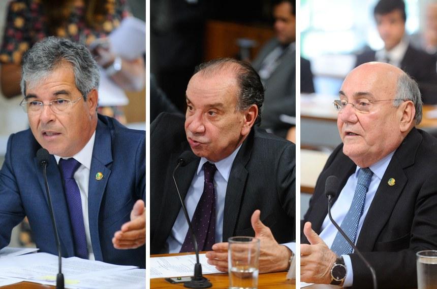 Senadores Jorge Viana, Aloysio Nunes e Flexa Ribeiro em reunião da CMA