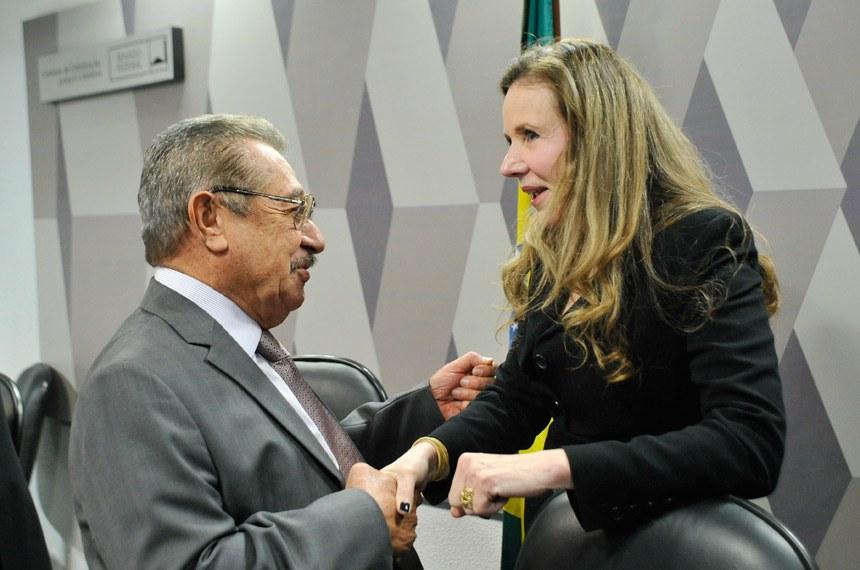 Senadora Vanessa Grazziotin, procuradora da Mulher no Senado, e o presidente da CCJ, José Maranhão