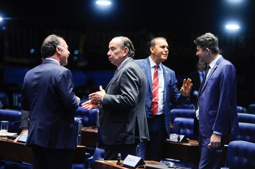 O relator do projeto, senador Fernando Bezerra Coelho (à esq.), conversa com o líder do governo, Aloysio Nunes Ferreira durante a sessão plenária