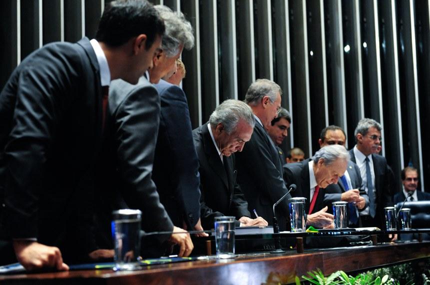 A cerimônia de posse de Michel Temer na Presidência da República também ocorreu no Plenário do Senado