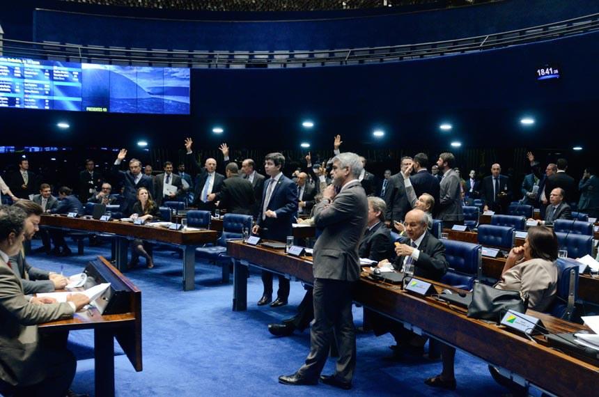 Sessão do Senado da última segunda-feira (19), quando foi aprovada a medida provisória que deu origem à lei promulgada nesta quarta-feira
