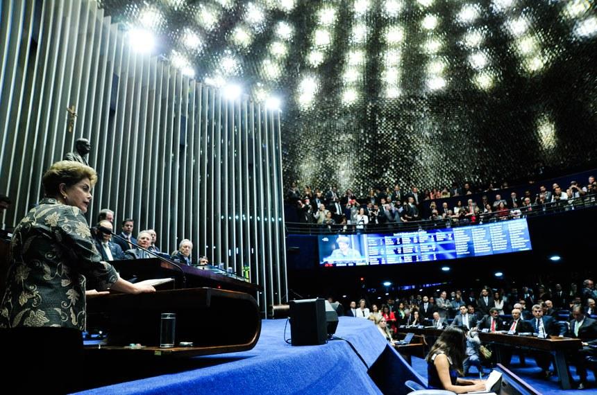 Sessão de julgamento do pedido de impeachment de Dilma Rousseff em 29 de agosto passado