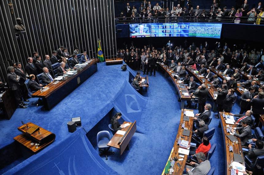 Sessão de julgamento do pedido de impeachment de Dilma Rousseff, em 31 de agosto, quando o Senado aprovou o seu afastamento definitivo por 61 votos a 20