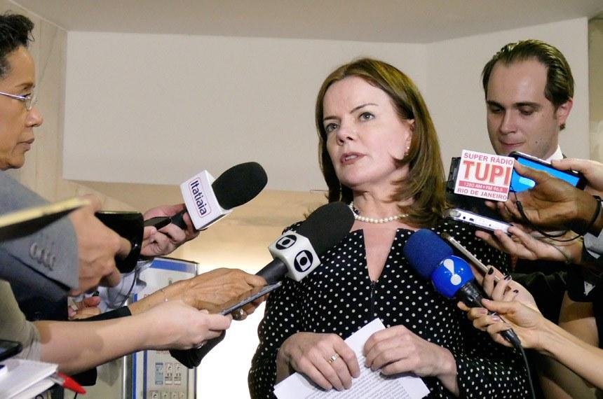 Senadora Gleisi Hoffmann (PT-PR) conceda entrevista.  Foto: Roque Sá/Agência Senado