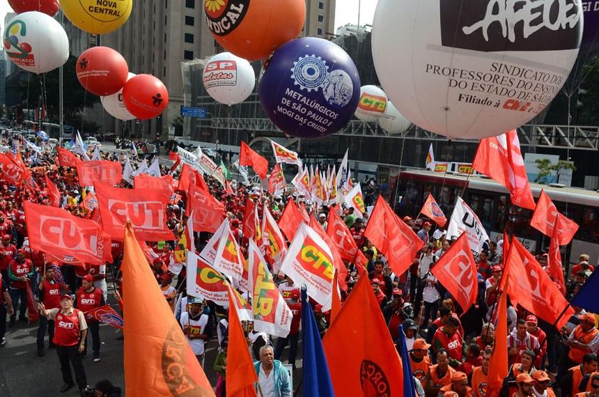 Ato das centrais sindicais na Avenida Paulista, em São Paulo, em 16 de agosto de 2016