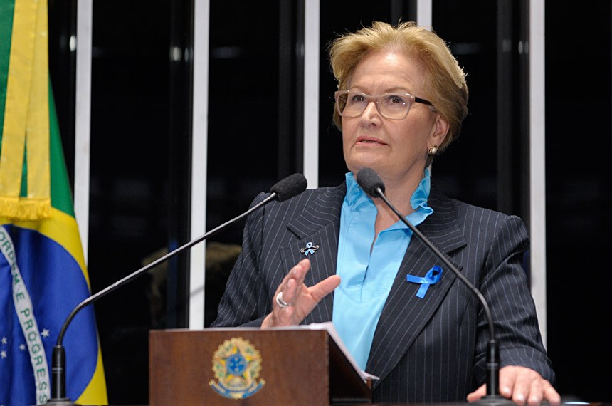 Plenário do Senado Federal durante sessão não deliberativa ordinária.  Em discurso, senadora Ana Amélia (PP-RS).   Foto: Waldemir Barreto/Agência Senado