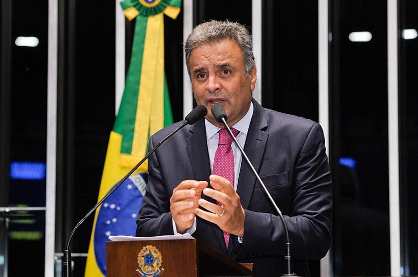 Plenário do Senado Federal durante sessão deliberativa extraordinária.   Em discurso, senador Aécio Neves (PSDB-MG).  Foto: Waldemir Barreto/Agência Senado