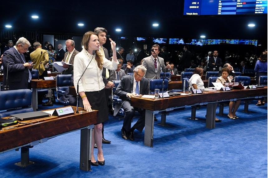 Plenário do Senado Federal durante sessão deliberativa extraordinária.  Em pronunciamento, senadora Vanessa Grazziotin (PCdoB-AM).  Foto: Waldemir Barreto/Agência Senado