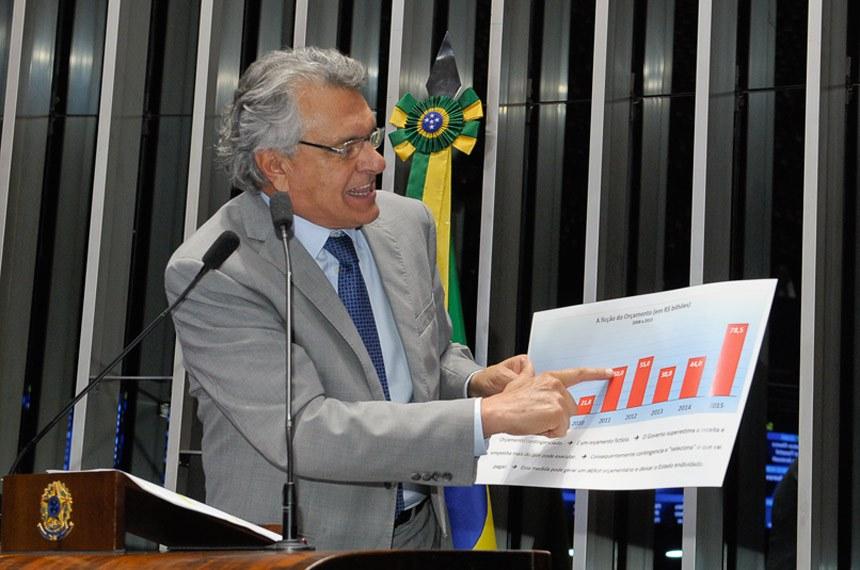 O senador Ronaldo Caiado (DEM-GO) defendeu a PEC do Teto de Gastos e apontou o caráter fictício do Orçamento da União em razão do contingenciamento das despesas