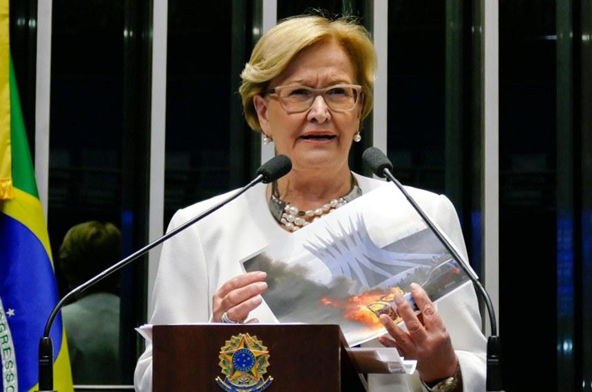 A senadora Ana Amélia (PP-RS) criticou os manifestantes contra a PEC do Teto de Gastos por atos de vandalismo na Esplanada