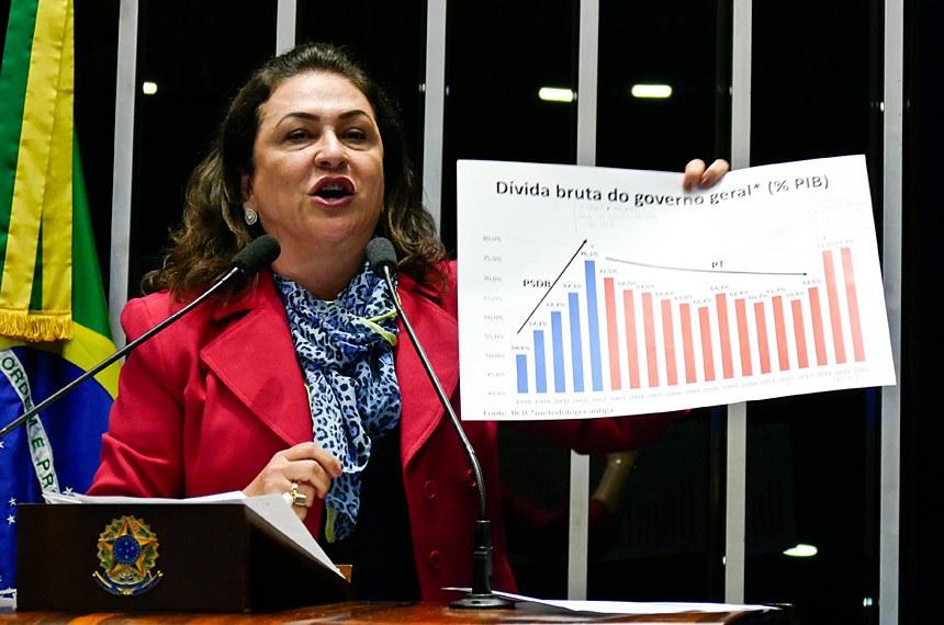 A senadora Kátia Abreu (PMDB-TO) negou a explosão da dívida pública e questionou a limitação de gastos por 20 anos