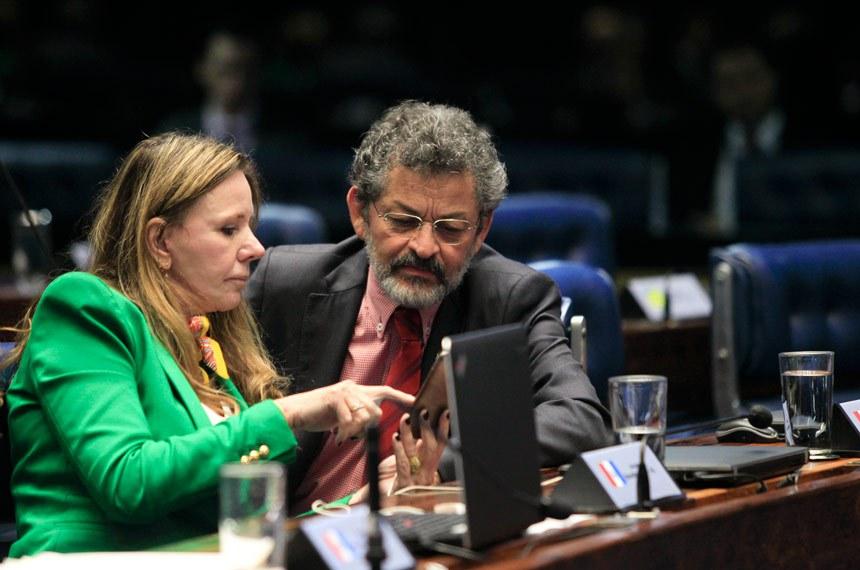 Plenário do Senado durante sessão deliberativa extraordinária.  (E/D): senadora Vanessa Grazziotin (PCdoB-AM); senador Paulo Rocha (PT-PA)  Foto: Beto Barata/Agência Senado