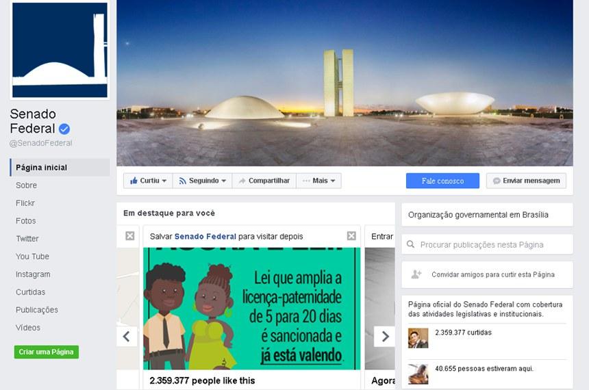 O perfil do Senado Federal no FaceBook serviu de inspiração para o projeto