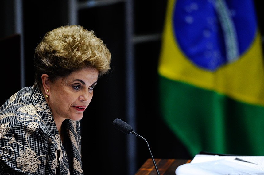 Plenário do Senado Federal durante sessão deliberativa extraordinária para votar a Denúncia 1/2016, que trata do julgamento do processo de impeachment da presidente afastada Dilma Rousseff por suposto crime de responsabilidade. Em pronunciamento,a presidente afastada, Dilma Rousseff.Foto: Marcos Oliveira/Agência Senado