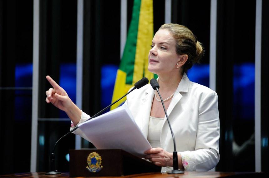 Plenário do Senado durante sessão não deliberativa.  Em discurso, senadora Gleisi Hoffmann (PT-PR).   Foto: Pedro França/Agência Senado