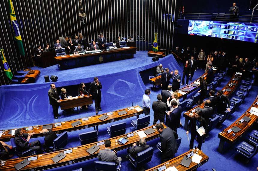 Plenário do Senado Federal durante sessão deliberativa ordinária.   À mesa, o presidente do Senado Federal, senador Eunício Oliveira (PMDB-CE), conduz sessão.   Foto: Marcos Oliveira/Agência Senado