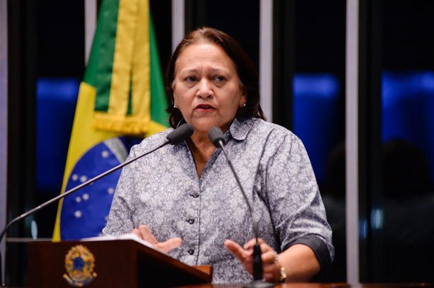 Plenário do Senado durante sessão deliberativa ordinária.  Em discurso, senadora Fátima Bezerra (PT-RN).  Foto: Jefferson Rudy/Agência Senado