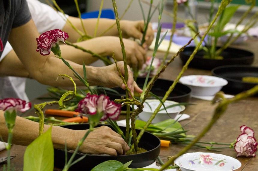 Detalhe de arrumação de arranjo floral no curso de Ikebana (arranjos de flores) na Casa de Cultura Japonesa, ligada à Faculdade de Filosofia, Letras e Ciências Humanas (FFLCH). O curso é dado anualmente como parte das atividades de divulgação das arte tradicional japonesa. Foto: Pedro Bolle / USP Imagens