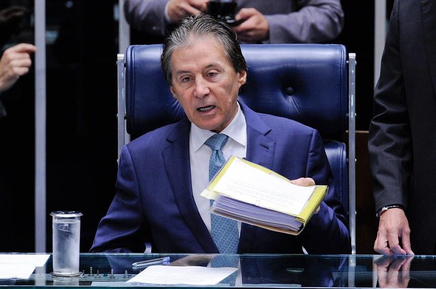 Plenário do Senado durante sessão deliberativa extraordinária.  À mesa, presidente do Senado, senador Eunício Oliveira (PMDB-CE).   Foto: Edilson Rodrigues/Agência Senado