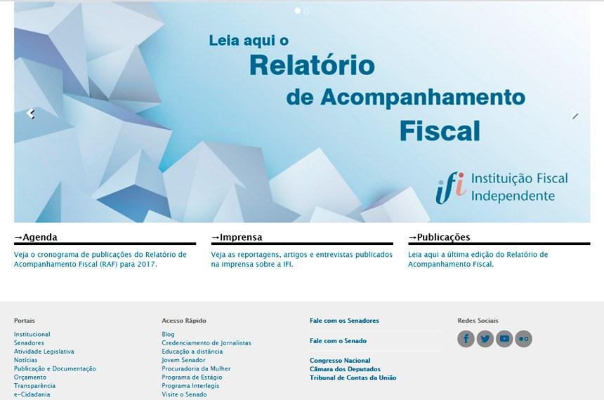 Reprodução do site da Instituição Fiscal Independente