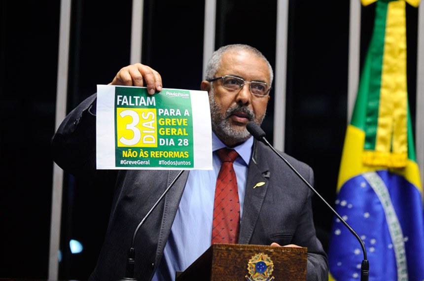 Plenário do Senado durante sessão deliberativa ordinária.  Em discurso, senador Paulo Paim (PT-RS).  Foto: Moreira Mariz/Agência Senado