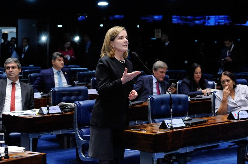 Plenário do Senado durante sessão deliberativa ordinária. Ordem do dia.  Em pronunciamento, senadora Gleisi Hoffmann (PT-PR).  Foto: Waldemir Barreto/Agência Senado