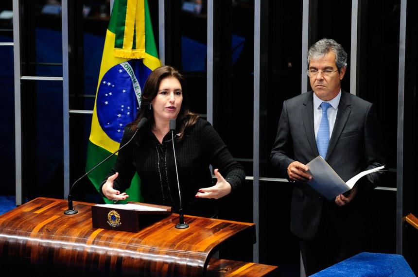 Plenário do Senado durante sessão deliberativa ordinária.  Em discurso, senadora Simone Tebet (PMDB-MS).   Foto: Jonas Pereira/Agência Senado