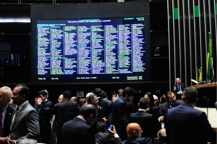 Plenário da Câmara dos Deputados durante sessão conjunta do Congresso Nacional para continuação de apreciação de vetos e projetos de lei.   Foto: Jonas Pereira/Agência Senado