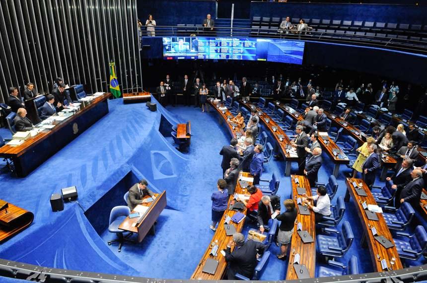 Plenário do Senado Federal durante sessão deliberativa ordinária.   Mesa:  senador João Alberto Souza (PMDB-MA);  presidente do Senado Federal, senador Eunício Oliveira (PMDB-CE)   Foto: Waldemir Barreto/Agência Senado