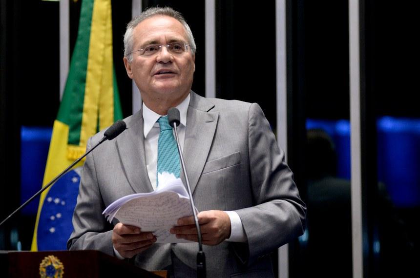 Plenário do Senado Federal durante sessão não deliberativa.   Em discurso, senador Renan Calheiros (PMDB-AL).   Foto: Jefferson Rudy/Agência Senado