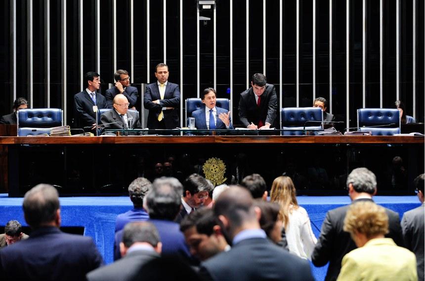 Plenário do Senado durante sessão deliberativa ordinária.  Mesa: senador João Alberto Souza (PMDB-MA) presidente do Senado, senador Eunício Oliveira (PMDB-CE).  Foto: Jonas Pereira/Agência Senado