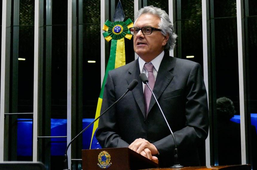 Plenário do Senado Federal durante sessão deliberativa ordinária.   Em discurso, senador Ronaldo Caiado (DEM-GO).   Foto: Roque de Sá/Agência Senado