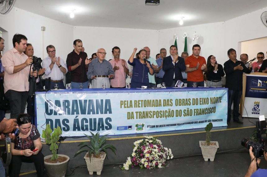 CDR - Comissão de Desenvolvimento e TurismoCaravana das ÁguasAudiências da Caravana das Águas na cidade de Pau dos Ferros - RN, em que a senadora  Fátima Bezerra anuncia queda da liminar do STF que trava obras de transposição do Rio São Francisco.
