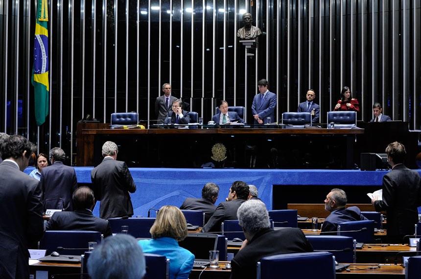 Plenário do Senado Federal durante sessão deliberativa extraordinária.   Mesa:  senador Cássio Cunha Lima (PSDB-PB);  presidente do Senado Federal, senador Eunício Oliveira (PMDB-CE)   Foto: Edilson Rodrigues/Agência Senado