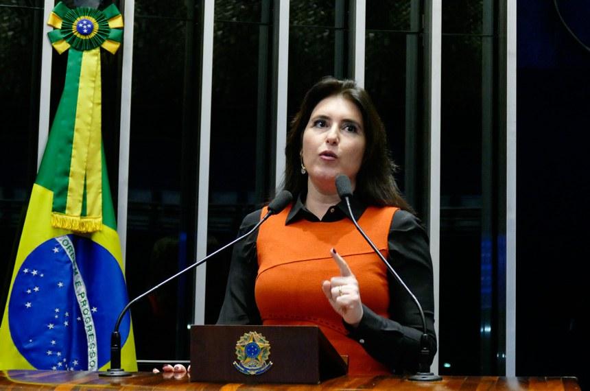 Plenário do Senado Federal durante sessão deliberativa extraordinária.   Em discurso, senadora Simone Tebet (PMDB-MS).   Foto: Roque de Sá/Agência Senado