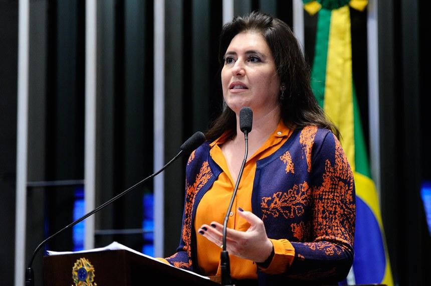 Plenário do Senado durante sessão deliberativa ordinária.  Em discurso, à tribuna, senadora Simone Tebet (PMDB-MS).  Foto: Moreira Mariz/Agência Senado