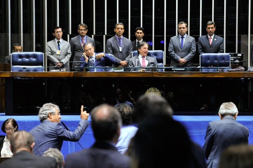 Plenário do Senado Federal durante sessão deliberativa ordinária.   Mesa:  senador Eduardo Amorim (PSDB-SE);  presidente do Senado Federal, senador Eunício Oliveira (PMDB-CE)   Foto: Moreira Mariz/Agência Senado