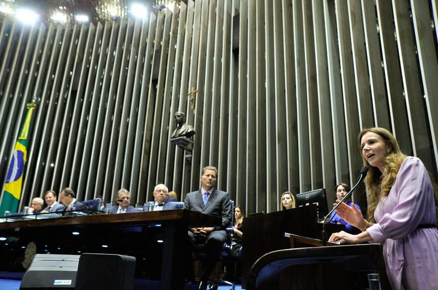 Plenário Senado Federal durante sessão solene do Congresso Nacional destinada a comemorar os 45 anos de fundação da Rede Amazônica.  Em pronunciamento, senadora Vanessa Grazziotin (PCdoB-AM).  Foto: Geraldo Magela/Agência Senado